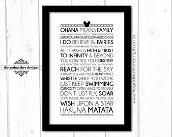 Disney Motivational Quotes - Typography Print - 2017 - Quotes & Lyrics - PRINT