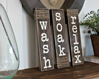 Rustic Bathroom Sign - Farmhouse Decor - Rustic Home Decor - Bathroom Rules - Bathrom Sign - Wash Soak Relax Signs - Wood Bathroom Decor