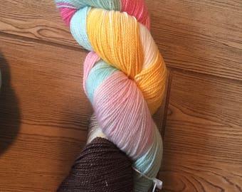 DESTASH - LBArt Yarn Superwash Sparkle Sock Silver merino yarn in Frosted Donuts colorway