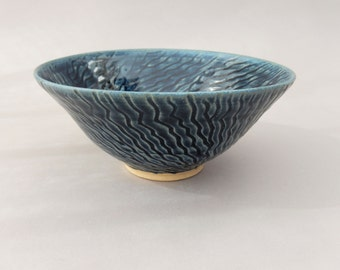 Handmade Pottery Bowl, Slate Blue Ceramic Prep Serving Bowl, Hand Carved Small Stoneware Gift