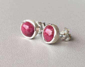 Ruby Stud Earrings Sterling Silver Stud earrings July Birthstone Bridesmaid gift