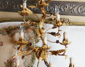 Antique Italian Tole Electric Wall Chandelier Sconce Gorgeous