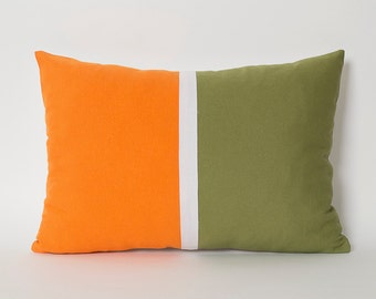 Orange Green Pillow Cover Color Block Pillows - Pale Green White Orange Lumbar Throw Pillow Covers Decorative Pillows For Couch