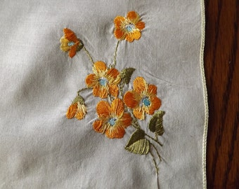 Vintage Light Pale Yellow  Handkerchief With Embroidery
