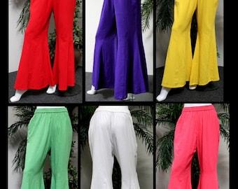 ComfyPlus Designer Lagenlook Cotton Gauze Bell Bottom Plus size pants . Loose Fit