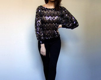 Sequin Top Women Vintage 80s Batwing Top Boat Neck Top Sheer Top See Through Shirt Sequin Shirt - Small to Medium S M