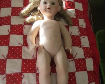 Handmade Bisque Porcelain Doll Blonde Ringlets Brown Glass Eyes