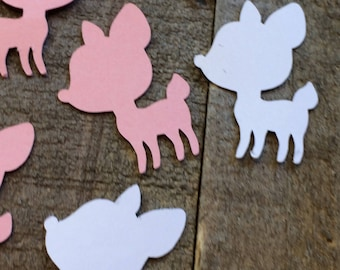 Pink And White Baby Deer Fawn Shower Table Confetti Gender Reveal Table Scatter Decor Decoration Baby Girl Woodland Theme C038