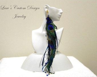 Extra Long Peacock Feather Earring - Single Earring