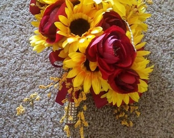 Small cascading sunflower and rose silk bouquet