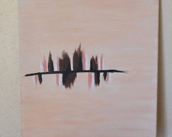 Abstract Blush Pink and Brown Acrylic Painting on Canvas 20x16