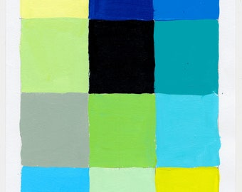 Geometric Abstract Painting, 10 x 7, Blue & Green, NY1748