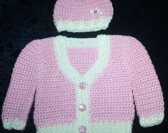 Crocheted Baby Hat & Sweater Set - Pink with Cream Trim, Buttons up front