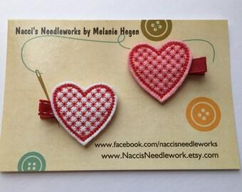 Valentine's Heart Felt Hair Clip- White Heart or Pink Heart Valentine Hair Clip