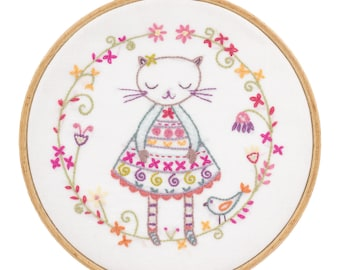 Kit embroidery purple pussy cat