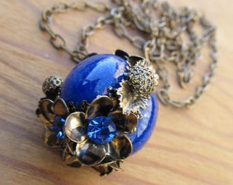 Antique Lapis Rhinestone 54 Inch Wrap Around Necklace