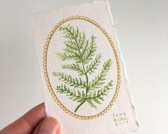 Wood Fern No. 1 Tiny Original Botanical Watercolor Painting Free Shipping