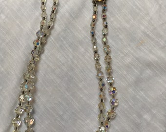Vintage 2 Row Aurora Borealis Crystal bead necklace 1950 to 1960s adjustable length