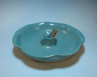 Appetizer Serving Dish Toothpick Holder Frosty Aqua - all-in-one Serving Piece