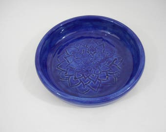 Blue Stoneware Ceramic Garlic Grater Bowl, Handmade Pottery, Hand Painted, Hand Thrown, Kitchenware, Tableware (B0176)