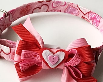 Red and Pink Valentine's Day Collar with Matching Bow  for Girl Dog or Cat