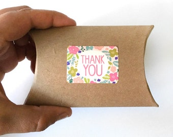 18 thank you stickers - floral thank you label - wedding favor sticker - shower stickers - envelope seals - gift flower wrapping labels