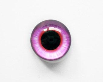 15mm handmade glass eye cabochon - pink eye - Hemispherical / High Dome