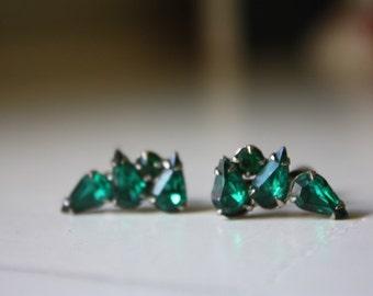Rhinestone Green Screw Back Earrings