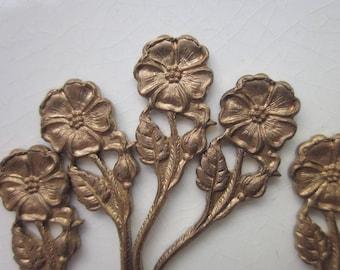 Vintage Brass Stampings, Long-stemmed Flower Design, 31mm x 11mm