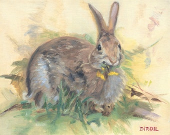 Bunny With Dandelion Giclee Print On Canvas Of My Original Oil Painting