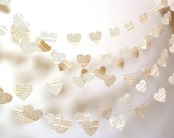 Vintage Paper Hearts Garland Choose Your Novel/Length Weddings, Photo Prop Interior