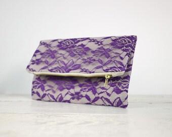 Purple lace clutch, fold over purple lace clutch   Purple Bridesmaid Clutch   Purple Wedding Clutch