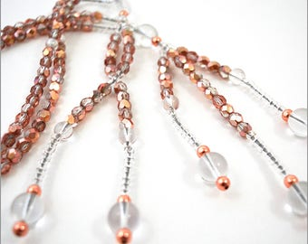 Rose Gold Faceted Crystal, Clear Crystal & Copper - Nichiren Beads - Buddhist Prayer Beads - SGI Beads