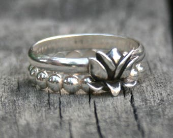 Sterling Silver Stacking Ring Set - Lotus