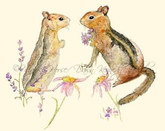 Chipmunk Art,  Art Print, Watercolor Print, Watercolor Painting, Chipmunk Painting, Home Decor, Animal Art, Happy Art, Majik Horse