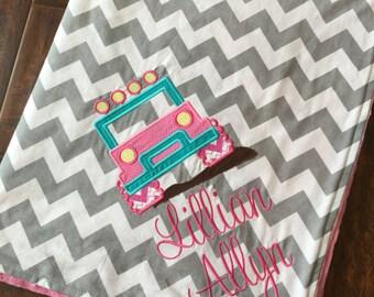 Personalized Baby Blanket- Minky Baby Blanket- Chevron Minky Blanket- Jeep Baby Blanket