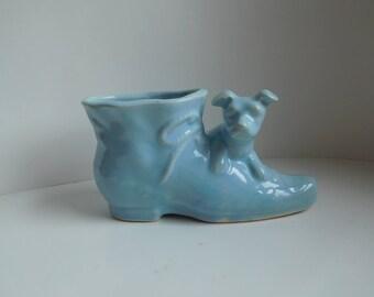 Vintage 1950s dog planter Shawnee Pottery blue dog with shoe planter