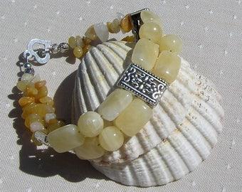 "Honey Quartz & Yellow Jade Crystal Gemstone Bracelet ""Buttercup"", Chakra Bracelet, Yellow Bracelet, Leo, Quartz Bracelet, Jade Bracelet"