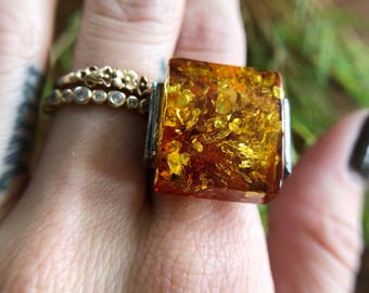Modern Sterling Silver and Amber Statement Ring