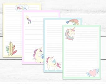 Printable Writing Set, Magical Unicorns, bonus 4x6 cards, instant download, stationery, writing set, letter set, note paper