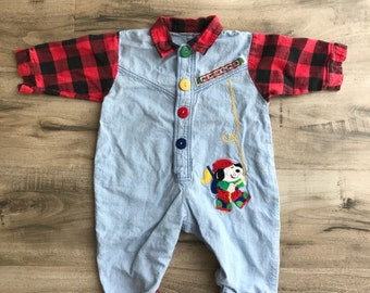 90s baby flannel jean outfit, 90s baby clothes, vintage baby outfit, 18 months vintage clothes, 90s baby,