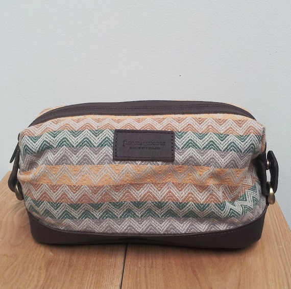 Mens Toiletry Bag Recycled Fabric and Leather