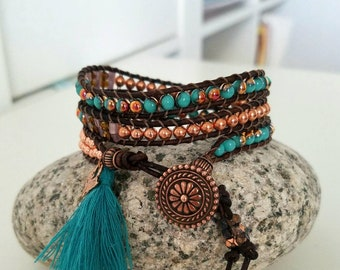 Lucky Penny 3 Three Triple Wrap Beaded Bracelet