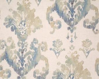 Two 26 x 26  Designer Decorative Pillow Covers - Euro Shams -  Ikat Damask - Blue/Grey