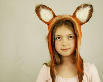 Red Fox ears felted Hat Earflap for Kids & Adults - Cosplay LARP Carnival Costume Party Animal  Fox Hat - Ski Snowboard - Made To Order