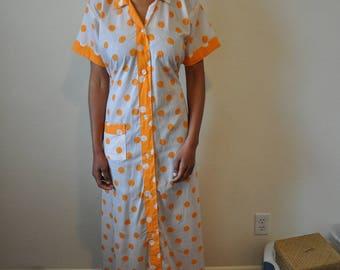 Vintage 1970s White and Orange Polka Dot Mas Pretty Prairie Dress
