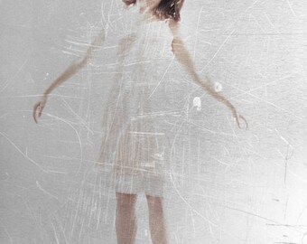 One Day I Slowly Floated Away - FREE SHIPPING - Print Gray Girl Levitating Jumping Scratches Cream White Surreal Simple Photo Art Surreal