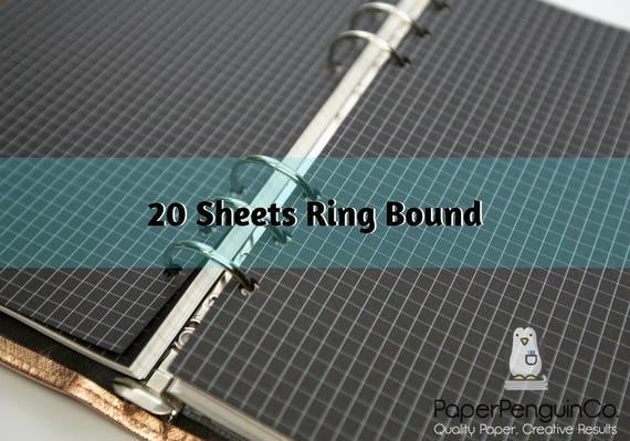 Planner Insert 20 Sheets Black Paper Filofax A5 Personal Pocket Kikki K Large Medium Small Ring Bound Paper Grid Dot Lined Blank