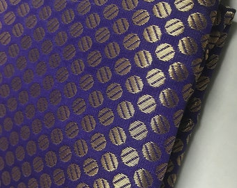 10% OFF One yard of Indian brocade fabric with polka dots in indigo /Costume fabric,doll clothes fabric/dress fabric/Banarasi brocade