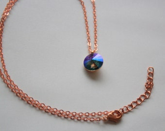 Swarovski Crystal Pendant Necklace, Rose Gold Plated and Paradise Shine Crystal Rivoli